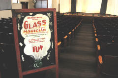 Antique marquee for Glass The Magician at Union Hall Theater, Chesterhill, OH. Photo by John Halley.