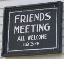 Welcome sign at Friends Meeting House, circa 1834, Chesterhill, OH